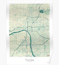 Tulsa Map Blue Vintage Poster