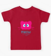 Pink cat head with blue eyes. Meow =) Kids Clothes