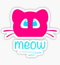 Pink cat head with blue eyes. Meow =) Sticker