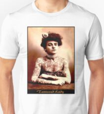 TATTOOED LADY : Vintage Tattoo Photograph Print T-Shirt