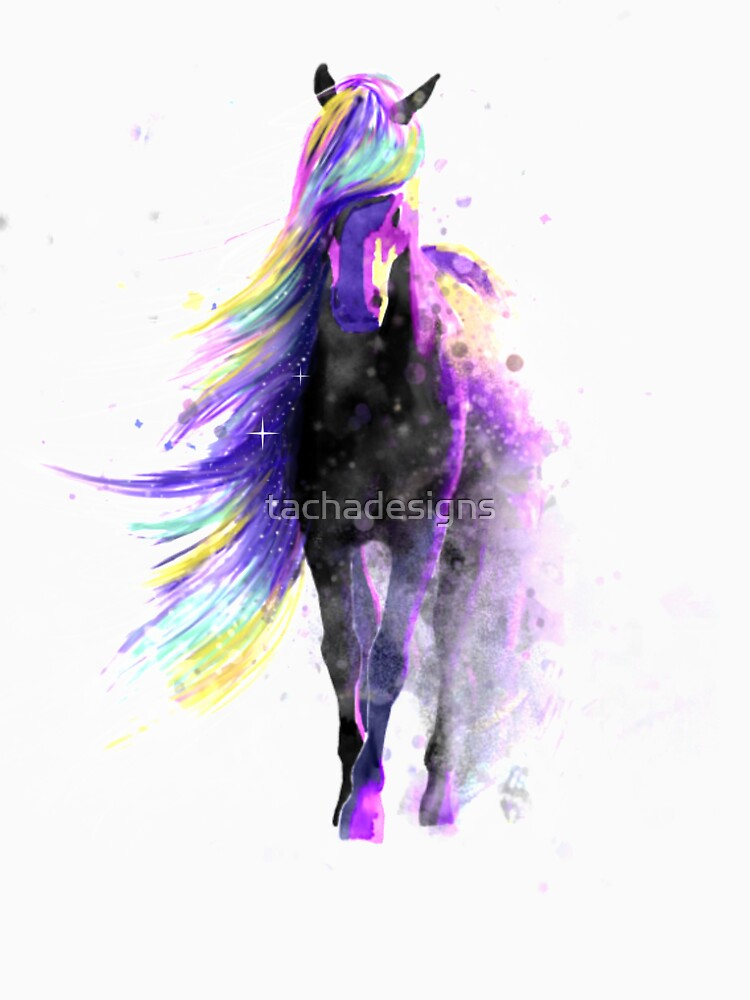 Magical Watercolor Galaxy Horse Illustration Classic T Shirt By