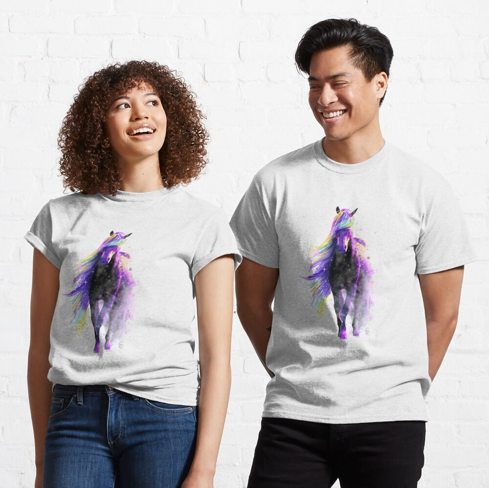 Magical Watercolor Galaxy Horse Illustration Classic T-Shirt