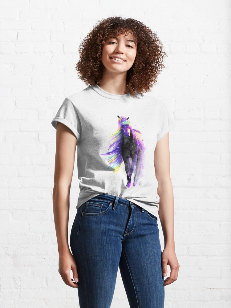 Alternate view of Magical Watercolor Galaxy Horse Illustration Classic T-Shirt