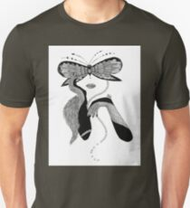 Vintage black and white Lady- line drawing T-Shirt