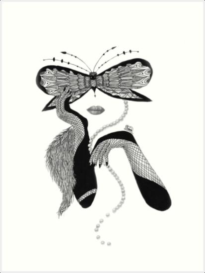 Láminas Artísticas Dibujo Blanco Y Negro Vintage Lady Line De