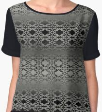 Grey and Black Women's Chiffon Top