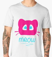 Pink cat head with blue eyes. Meow =) Men's Premium T-Shirt