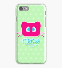 Pink cat head with blue eyes. Meow =) iPhone Case/Skin