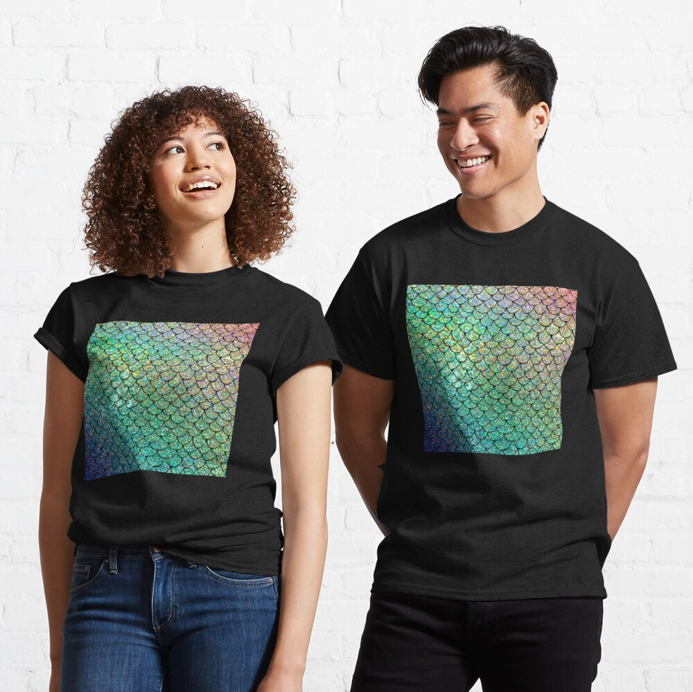 Colorful Glitter Mermaid Scales Classic T-Shirt