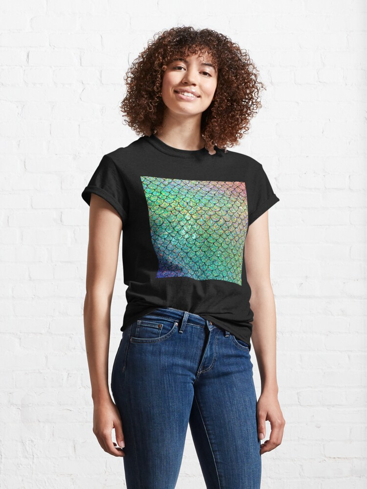 Alternate view of Colorful Glitter Mermaid Scales Classic T-Shirt