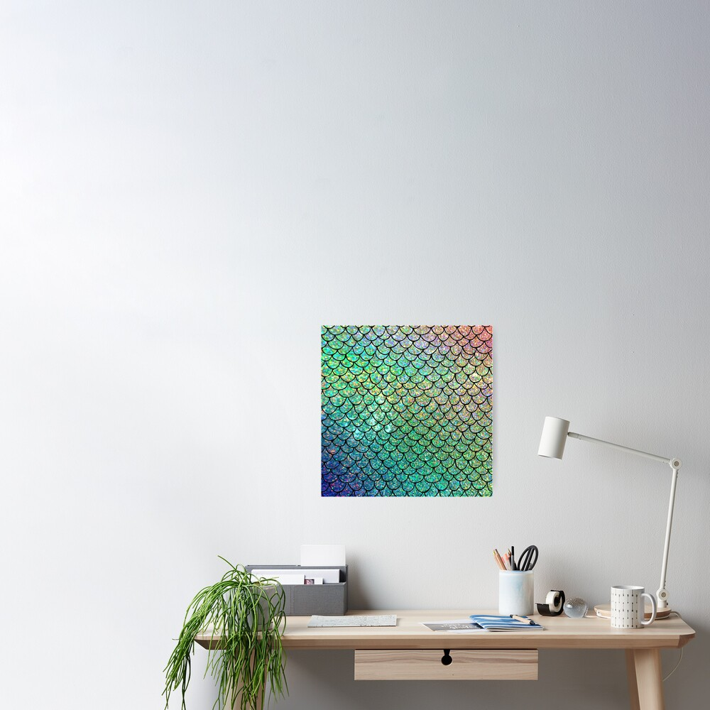 Colorful Glitter Mermaid Scales Poster