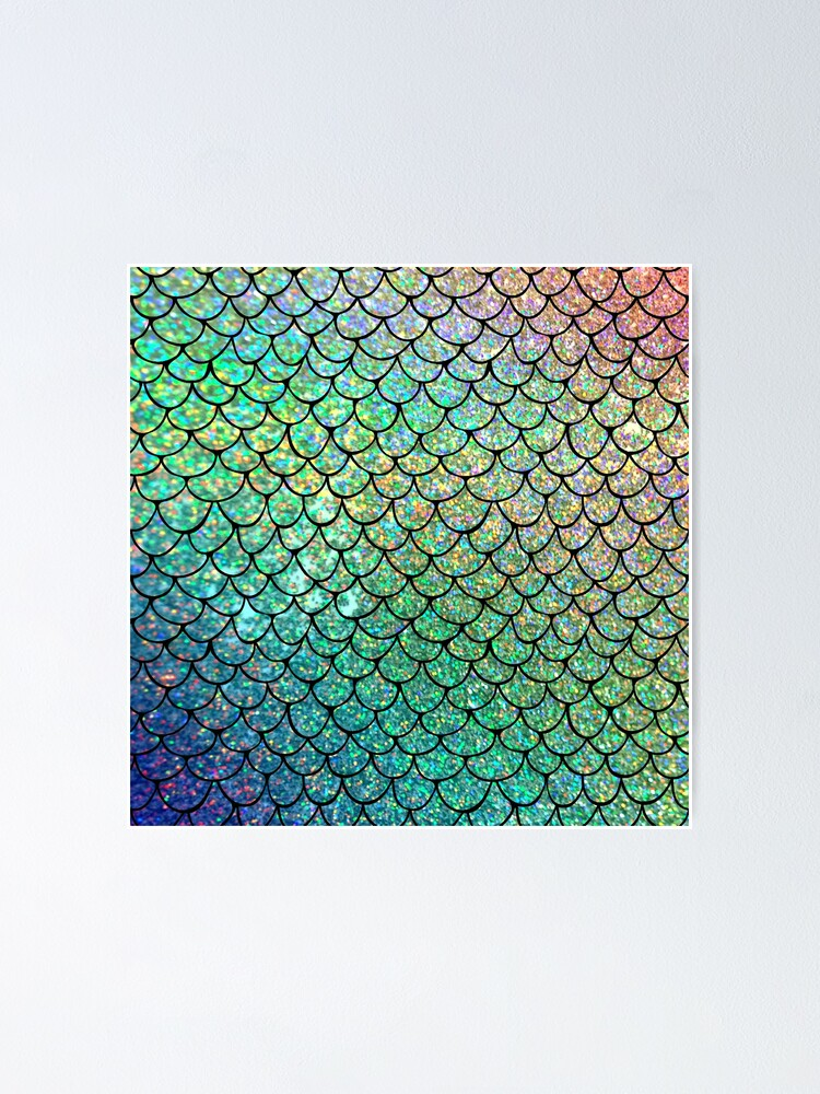 Alternate view of Colorful Glitter Mermaid Scales Poster