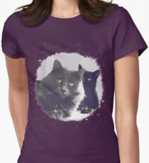 Cats in love. grey and black / photo of cute couple of cats T-Shirt