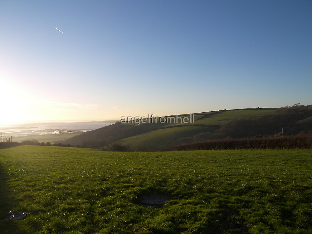 Llansaint hill overlooking three rivers by angelfromhell
