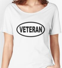 Veteran Oval Euro Style Sticker Car Decal Women's Relaxed Fit T-Shirt