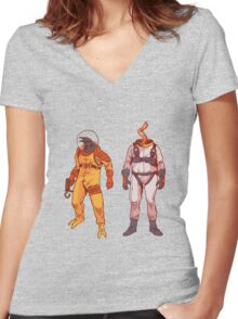 Earthworm Jim & Psycrow Women's Fitted V-Neck T-Shirt