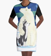 The Polar Bear and The Husky Graphic T-Shirt Dress