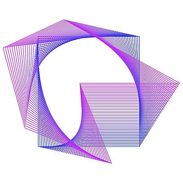 Abstract Geometry Line Art Neon Distorted Square by ddtk