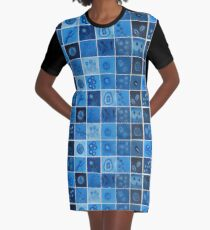 Blue Virus  Graphic T-Shirt Dress