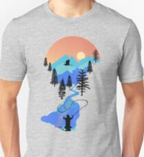 Fly Fishing Mountain Sunset by TeeCreations Unisex T-Shirt