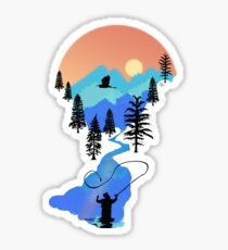 Fly Fishing Mountain Sunset by TeeCreations Sticker
