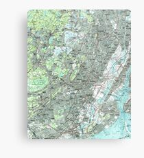 Newark NJ and Surrounding Areas Map (1986) Metal Print
