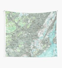 Newark NJ and Surrounding Areas Map (1986) Wall Tapestry