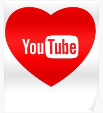 Youtube Logo Love red Poster