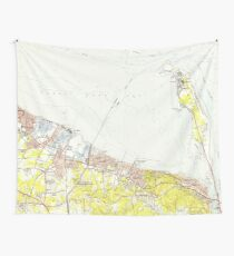 Vintage Map of Sandy Hook NJ (1954) Wall Tapestry