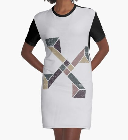 Abstract Geometry with Earth Tones Graphic T-Shirt Dress