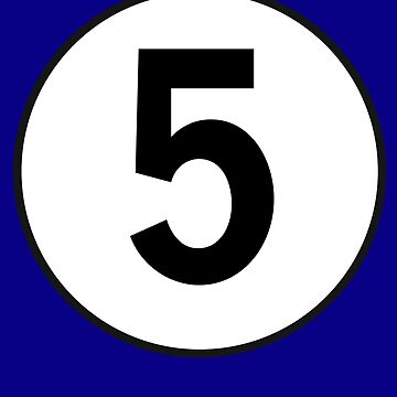 5, Five, Fifth, Number Five, Number 5, Racing, Five, Competition, on Navy Blue by TOMSREDBUBBLE