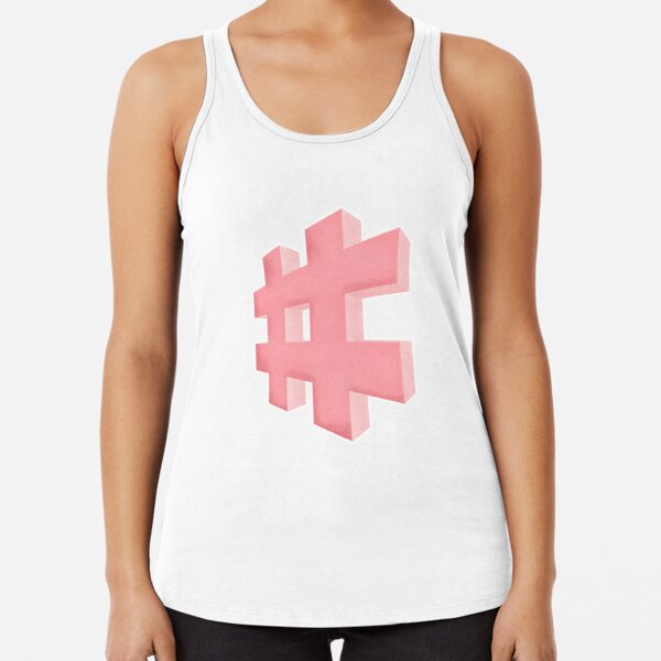 Pink grainy Hashtag Racerback Tank Top