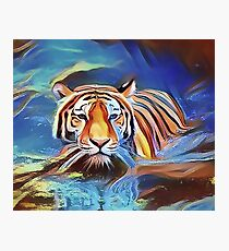 Tiger Crossing the Lake Photographic Print