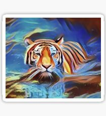 Tiger Crossing the Lake Sticker