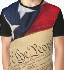 Constitution: Overhead View of USA Constitution and Flag Graphic T-Shirt