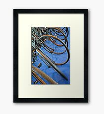 Close up on many wheels from bicycles  Framed Print