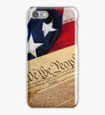 Constitution: Overhead View of USA Constitution and Flag iPhone Case/Skin