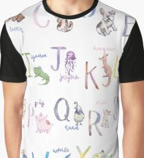 Alphabet Animals in Watercolor Graphic T-Shirt