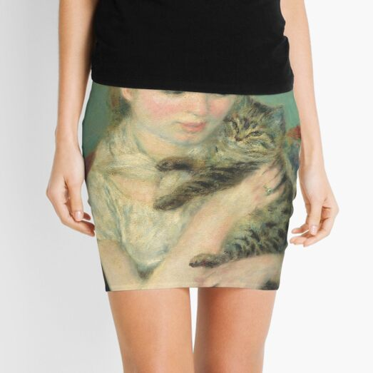 Woman with a Cat Oil Painting by Auguste Renoir Mini Skirt