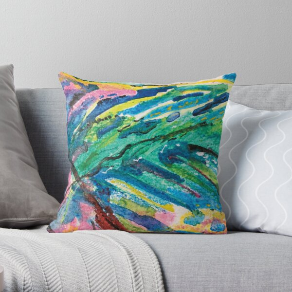 blue leaf on wave Throw Pillow