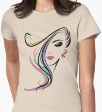 Girl Coloful Graphic 3d Women's Fitted T-Shirt