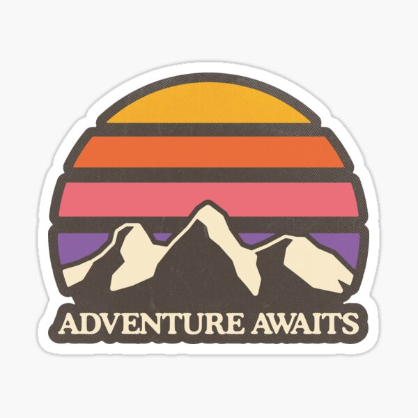 Aventure attend Montagne Soleil Sticker