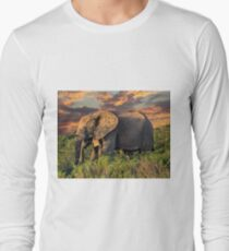 Elephants at Sunset Long Sleeve T-Shirt