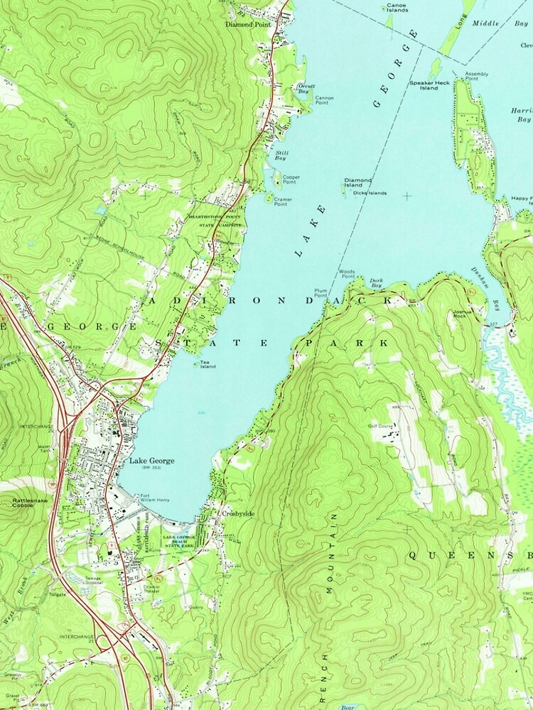 Vintage Map of Lake George New York (1966) 2 by BravuraMedia