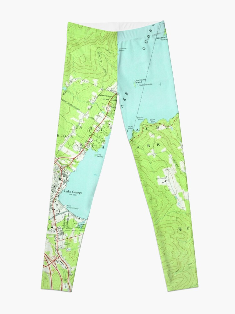 Alternate view of Vintage Map of Lake George New York (1966) 2 Leggings
