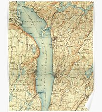 Vintage Map of Tarrytown NY & The Hudson River Poster