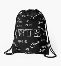 BTS Group (Black) Drawstring Bag