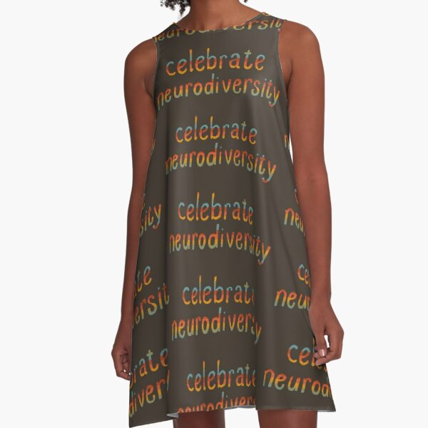 Celebrate Neurodiversity - Retro Rainbow A-Line Dress