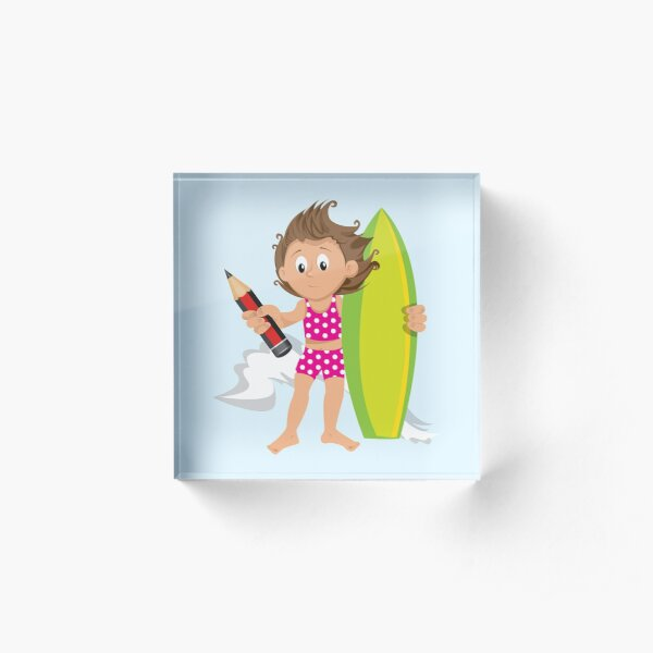 Cool Surfer-girl Acrylic Block