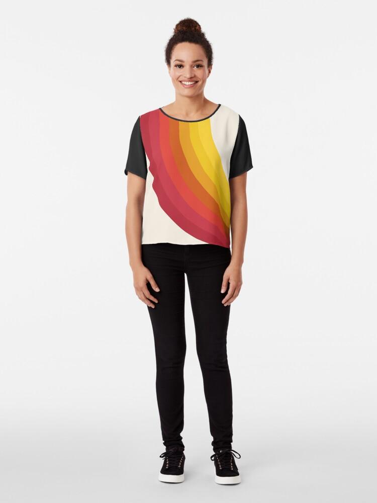 Alternate view of 4-Sho - retro 70s style throwback vibes 1970's trendy decor art minimalist rainbow stripes Chiffon Top